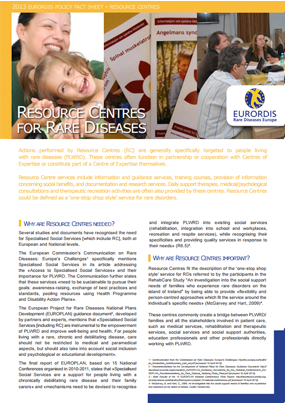 Factsheet resource centres for rare diseases